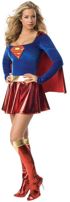 "Ladies Supergirl Costume - Calgary, Alberta. Wear this Supergirl costume to a superhero party, comiccon or for Halloween.  This is a close resemblance to the original Supergirl costume, first featured in the Superman comic Vol.1 #123, August 1958.  The Supergirl costume is all one piece. The bodice of the dress is blue velour with gold trim on the wrists [of the long sleeves] and along the U-neckline. In the middle of the chest there is a patch of the Super ""S"" symbol."