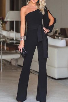 belt Jumpsuit wide legs rompers playsuits one shoulder jumpsuit pants jumpers. S… belt Jumpsuit wide legs rompers playsuits one shoulder jumpsuit pants jumpers. Black Women Fashion, Look Fashion, Womens Fashion, Ladies Fashion, Feminine Fashion, Cheap Fashion, Winter Fashion, Girl Fashion, Mode Outfits
