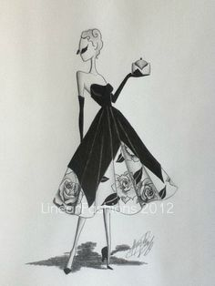 Fashion Illustration Art 1950s Roses Party Dress by LinearFashions| Be inspirational  ❥|Mz. Manerz: Being well dressed is a beautiful form of confidence, happiness & politeness