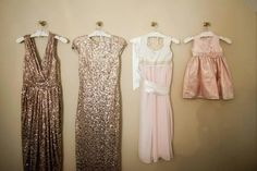 Bridesmaid's dresses, Daughter of the bride dress, and flower girl dress. #pinkandgold #goodinpartyof3 #rosegold  #golddress   also, this ivory and light pink chiffon dress was handmade by one of the bridesmaids for the daughter of the bride. @zoeolive