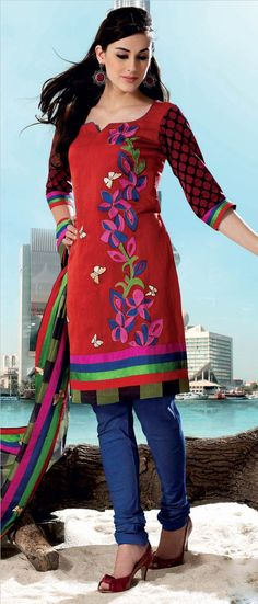 #Red #Cotton Churidar Kameez @ $65.81