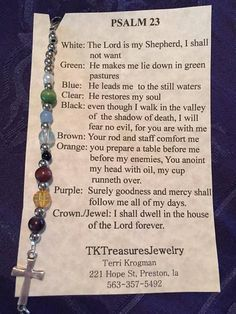 Psalm 23 bracelets, assorted colored beads with cross. Beads will not always be the ones shown, if you would like a certain kind of bead, please let me know in the comments when ordering or email me before hand, I will gladly help you out. Christian Crafts, Christian Jewelry, Bead Crafts, Jewelry Crafts, Bracelet Crafts, Salvation Bracelet, Beaded Jewelry, Beaded Bracelets, Beaded Bookmarks