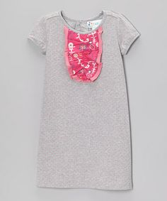 Loving this Heather Gray & Pink Polka Dot Ruffle-Front Dress - Toddler & Girls on #zulily! #zulilyfinds