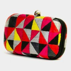 Multicolor Triangles Phulkari Embroidered Box Clutch