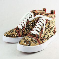 Christian Louboutin Men's Rivet Leopard Sneakers Shoes www.echristianlou...