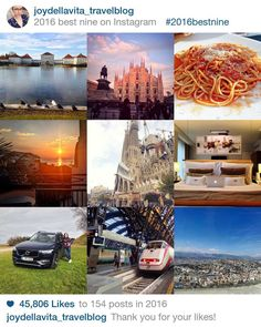 My #2016BestNine Instagram Photos: Nymphenburg Castle in Munich, Duomo di Milano, Spaghetti Napoli in Bergamo, Sunrise in Altea (Spain), Sagrada Familia in Barcelona, Mandarin Oriental Geneva Hotel Bed, test-driving the Volvo XC90, taking the Train from Milan to Venice, view from the ferris wheel in Malaga. (from the top, left to right)
