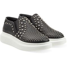 Alexander McQueen Embellished Leather Slip-On Sneakers