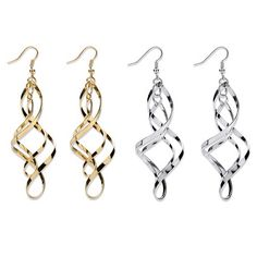 Set of 2 pairs of carefree double twist earrings. One in yellow gold tone and one in silvertone. A chic addition to anyPrice - $19-ywsnBPmk