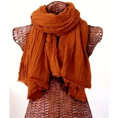 Pumpkin Orange Scarf, Dusty Burnt Orange Cotton Scarf, Extra Large... ($67) ❤ liked on Polyvore featuring men's fashion, men's accessories, men's scarves, mens summer scarves, mens shawl, mens travel accessories and mens scarves