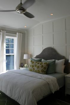 The wood lattice design on the back wall gives a wonderful focal point to the room.