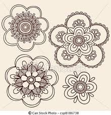 simple henna flower doodles