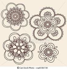 simple henna flower doodles
