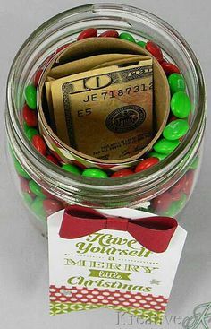Fill a mason jar with candy and an empty toilet paper tube to hold money or a gift card.