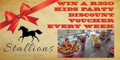 Stallions Restaurant now has a great Kids Party Venue as well.  Enter our weekly lucky draw to win a R350 party discount voucher. #StallionsKidsParties #Ballito #Restaurant