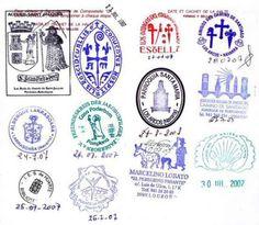 stamps from El Camino de Santiago de Compostela Buen Camino!