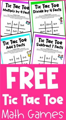 These free tic tac toe math games are the fun way to develop fact fluency! There are games for addition, subtraction, multiplication and division! Teaching Subtraction, Multiplication, Teaching Math, Teaching Ideas, Math For Kids, Fun Math, Math Activities, Fourth Grade, Second Grade