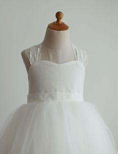 Princess Ivory Floor-length Flower Girl Dress - Lace/Tulle Sleeveless – USD $ 49.99