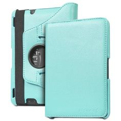 """Fosmon GYRE 360 Rotating Leather Case with Auto Sleep / Wake Cover for Kindle Fire HDX 7"""" (Sky Blue)"""