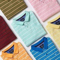 Este posibil ca imaginea să conţină: dungi Polo Tshirt, Mens Polo T Shirts, Wardrobe Solutions, Polo Blue, White T, Men Online, Fashion Games, Best Brand, Tshirts Online