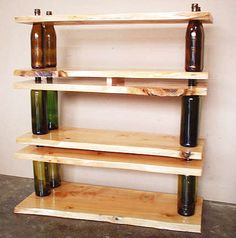 Shelving made from old wine bottles... pretty cool. (Also a few other ideas on using old bottles.)