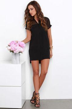 Chic Black Dress - Shift Dress - Button-Up Top - $48.00