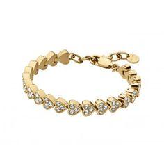 Hvad enhver kvinde har brug for – et klassisk og smukt tennisarmbånd i guldbelagt stainless steel med hjerter med SWAROVSKI ELEMENTS