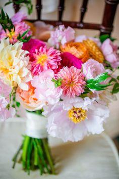 Pink, Peach, Orange, Blush + Green Bouquet by Branch Design Studio // Elegant Lowndes Grove Plantation Wedding // Dana Cubbage Weddings // Charleston SC Wedding Photography