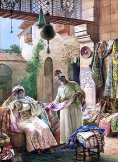 Presenting His Finest Fabrics by Amedeo Momo Simonetti - Hand Painted Oil Painting