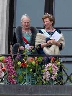 Queen Margrethe of Denmark and Queen Anne Marie of Greece, attend an official Gala dinner at the Royal Palace, in Oslo, as part of The Celebrations of the 80th Birthdays of King Harald and Queen Sonja of Norway. on May 9, 2017 in Oslo, Norway.