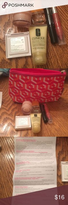 Clinique sample 7 piece set. All new. Never used. Beautiful cosmetic bag. Please see list of items. Clinique Makeup