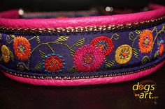 Dog Collar Sunshineflower by dogs-art leather dog