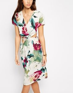 Love Floral Print Midi Dress with Cut Out Detail