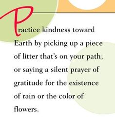 Practice kindness toward Earth by picking up a piece of litter that's on your path or saying a silent prayer of gratitude for the existance of rain or the color of flowers.  ~ Dr. Wayne Dyer