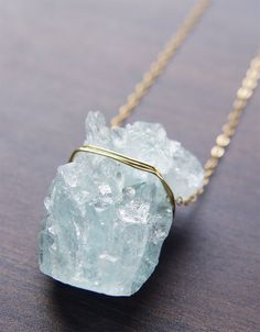 Aquamarine Crystal Necklace at Friedasophie https://www.etsy.com/listing/208681451/aquamarine-crystal-necklace-gold-pendant