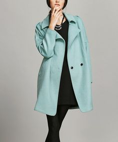 Vanillachocolate Green Wool-Blend Trench Coat | zulily