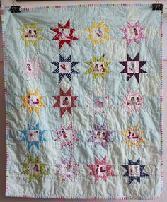 cute star quilt with fussy-cut star centers