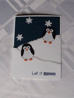 Penguins made using Stampin Up Owl punch