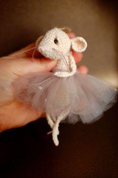 Ballerina Mouse Decor Flower Girl Gifts, Whimsical Art, Christmas Tree Ornaments, Art Dolls, Ballerina, Hedgehog, Organic Cotton, Teddy Bear, Handmade Gifts