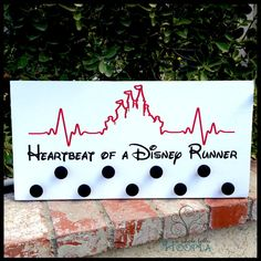 Heartbeat of a Disney Runner - Handcrafted Wooden Sign - Marathon Medal Display Hanger - 10x20 - 13.1, 26.2, Half-Marathon, Runners, Medals