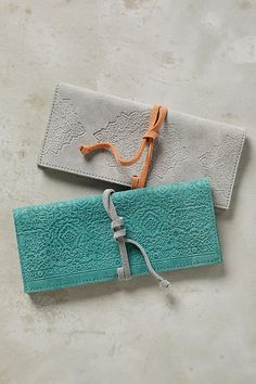 Slide View: 2: Embossed Suede Pencil Pouch
