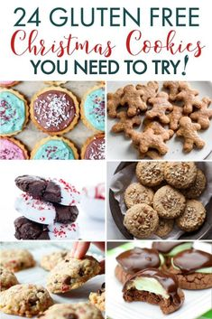 24 Gluten Free Cookies you need to try for Christmas! This list has everything you need, gluten free Christmas cookies, gluten free vegan cookies, and more. Vegan Gluten Free Cookies, Gluten Free Christmas Cookies, Chocolate Mint Cookies, Gluten Free Sugar Cookies, Paleo Cookies, Holiday Cookie Recipes, Gluten Free Chocolate, Best Gluten Free Recipes, Eat
