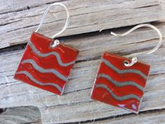 Enameled Copper Earrings by SilverHollyhocks on Etsy