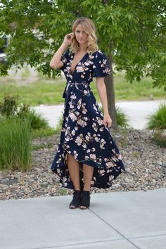 Fields Of Floral Wrap Dress | Foi Clothing Boutique | Staff Favorite | You NEED This Dress | Darling Details | Fabulously Floral | Wrap Waist Dress | Wear Everyday | Everyday Wear | Must Have | Navy Dress |  Buy Now on Foiclothing.com | Women's Boutique | Spring and Summer Fashion |