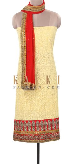 Buy Online from the link below. We ship worldwide (Free Shipping over US$100). Product SKU - 316062. Product Price - $279.00. Product Link - http://www.kalkifashion.com/yellow-unstitched-suit-enhanced-in-thread-work-only-on-kalki.html