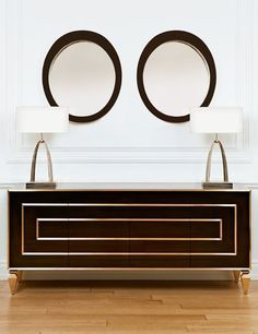 WOODEN AND BRASS SIDEBOARD DESIGN| A lacquer sideboard from the Trump Home| http://bocadolobo.com/ #modernsideboard #sideboardideas