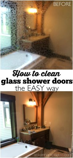 How to clean glass shower doors the EASY way and get incredible results. Keep your bathroom glass showers sparkling clean in minutes and keep them that way! Perfect for Spring cleaning this year in your home Deep Cleaning Tips, House Cleaning Tips, Spring Cleaning, Cleaning Hacks, Cleaning Products, Diy Hacks, Cleaning Routines, Cleaning Checklist, Cleaning Solutions