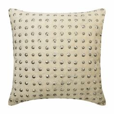 "16""x 16"" Decorative Ivory And Silver Throw Pillow Cover, Velvet Couch Pillow Cover, Sofa Pillow Foil Bead Embroidery - Wheeling Around Ivory"