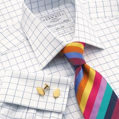 White herringbone check slim fit dress shirt | Slim fit dress shirts from Charles Tyrwhitt | CTShirts.com