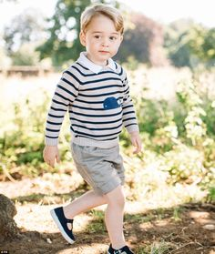 Prince George at his family's home in Norfolk on his third birthday. This image was shared widely by royal fans this time last year