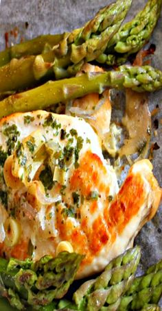 Chicken Breasts and Asparagus cooked in foil packets. Substitute with green beans when asparagus is not in season.